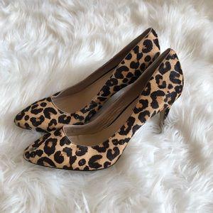 Faux fur leopard heels